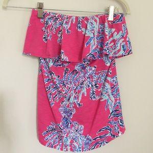 Lilly Pulitzer Wiley Tube Top In Capri Pink Samba
